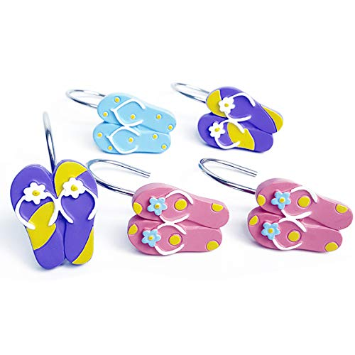 ZILucky 12 Pcs Resin flip-Flops Slippers Multi-Color Mixed Shower Curtain Hooks Rings Stainless Steel Bathroom Beach Decor Accessories (Flipflop)