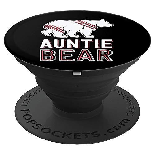 Auntie Bear Baseball Aunt Shirts For Women Softball Game - PopSockets Ausziehbarer Sockel & Griff für Smartphones & Tablets
