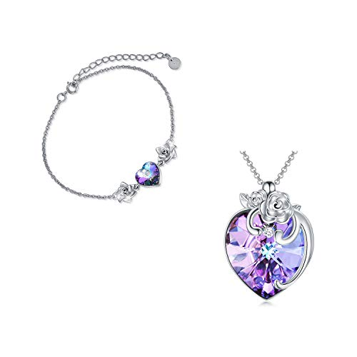 """Love Heart Woman Necklace and Bracelet Jewelry Set with Crystal, 925 Sterling Silver Rose Flower Necklace and Bracelet Set, Anniversary Gift for Her, """"Love in Rose Garden"""""""