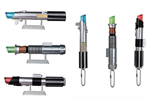 Set 6 Mini Sable DE LUZ Collecion Mascot Keychain de Star Wars con Luz LED y Llavero - 100% Oficial Lucasfilm BANDAI