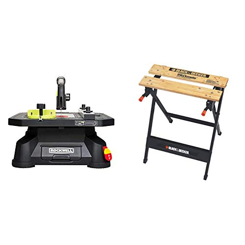 Rockwell BladeRunner X2 Portable Tabletop Saw with Steel Rip Fence, Miter Gauge, and 7 Accessories – RK7323 & BLACK+DECKER Workmate Portable Workbench, 350-Pound Capacity (WM125)