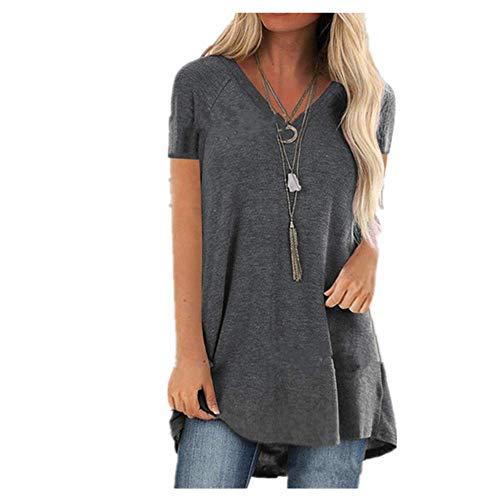 Color sólido camiseta superior manga corta mujeres casual camisetas sueltas V-cuello camisetas señora Tops ropa femenina verano - - 5X-Large