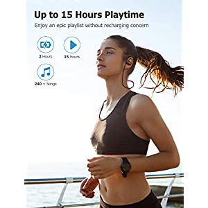 Letscom Wireless Headphones, Bluetooth 5.0 Earbuds IPX7 Waterproof Workout Earphones HD Stereo Sound Bass Headsets Noise Cancellation 15Hrs Playtime with Portable Case - Upgraded Version