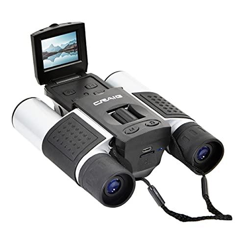 Craig CAC378 Prismáticos con cámara digital y pantalla LCD de 1,5 pulgadas en negro y plata, tarjeta micro SD de 8 GB incluida,...