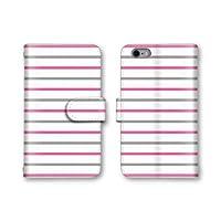 【ノーブランド品】 Android One X1 スマホケース 手帳型 ボーダー柄 ピンク グレー ホワイト 4番 スマホカバー かわいい おしゃれ 携帯カバー X1 ケース 携帯ケース アンドロイド ワン