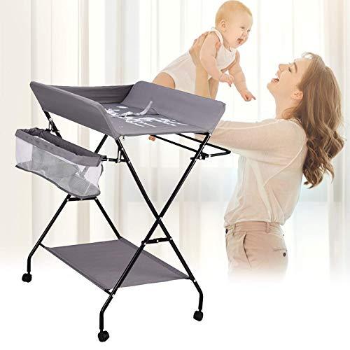 InLoveArts - Cambiador plegable para bebé con ruedas, ajustable en altura, plegable, portátil,guardería con rejilla para secado de ropa para recién nacidos y rejilla viajes infantiles