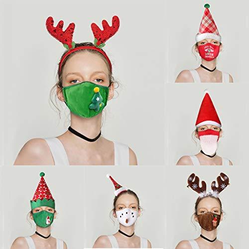 Christmas Print Face_Mask Headband Set,Santa Claus Elk Mouth Protection (6PCS/A+B+C+D+E+F)