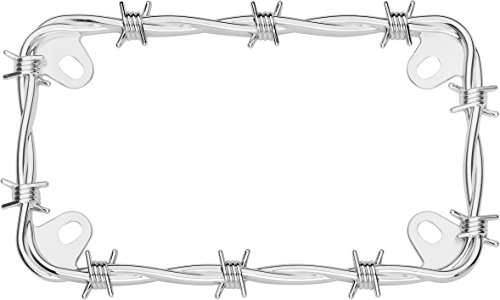 Cruiser Accessories 77430 MC Barbed Wire Motorcycle License Plate Frame, Chrome
