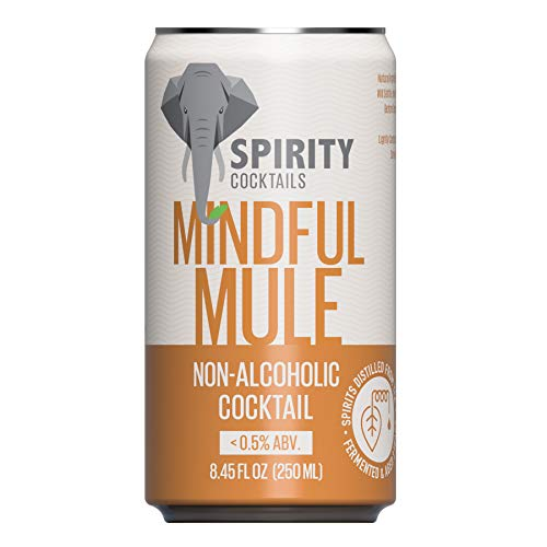 Spirity Cocktails - Mindful Mule, Non-Alcoholic Cocktail, Spirits Distilled from Tea, 8.45 fl oz Cans (4-Pack)