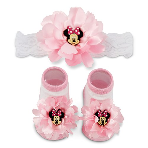 Disney Baby Minnie Mouse Polka Dot Flower Headwrap and Booties Gift Set, pink, White, 0-12M