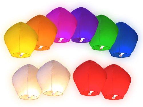 Skyballon Lot de 10. 8 Couleurs lanternes en Papier mélangées