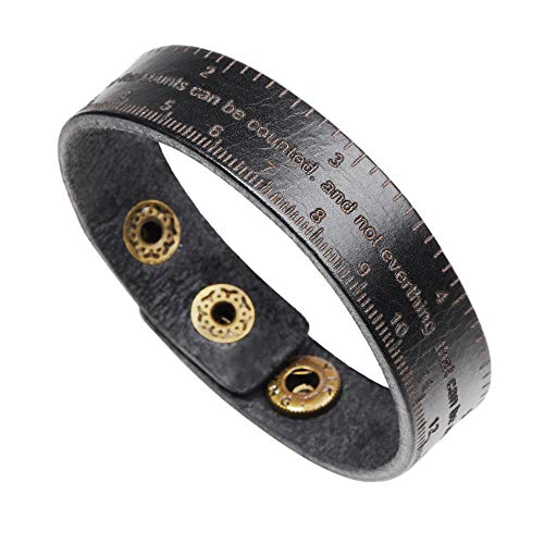 H.ZBRUJ Unique Leather Measuring Tape Cuff Bracelet For Boyfriend Girlfriend Adjustable Wristband For Birthday