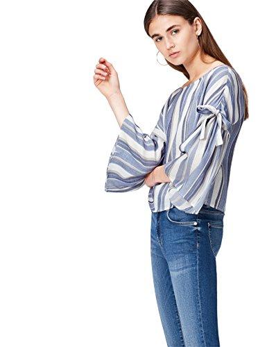Marca Amazon - find. Camisa Mujer, Azul (Blue Stripe), 36, Label: XS