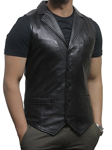 Brandlock - Chaleco de piel para hombre, diseño vintage Negro Negro ( M pecho 94/96 cm