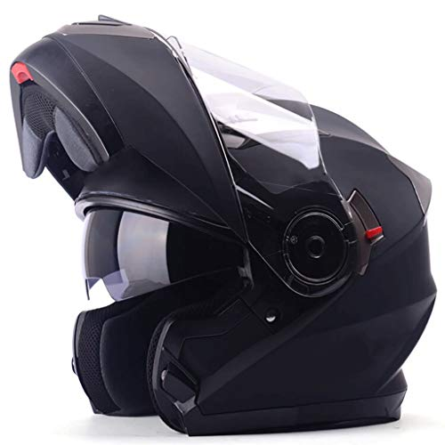 FLY® Casque De Moto, Casque Intégral Pour Hommes Et Femmes, Double Lentille Anti-buée, Quatre Saisons, Noir (taille : XL)