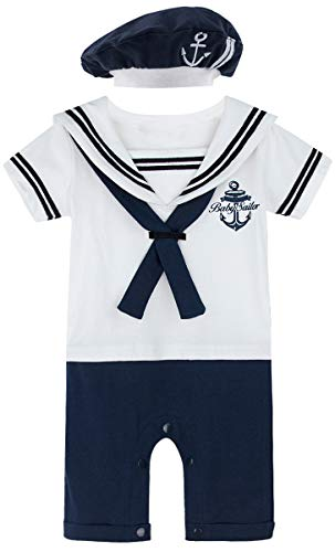 MOMBEBE COSLAND Baby Jungen Matrose Kostüm Strampler with Hüte (6-9 Monate / 90 UK, Weiß)