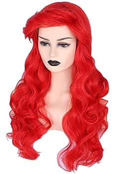 Topcosplay Ariel Wig Adult Women Halloween Costume Wigs Red Long Curly Cosplay Wig