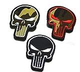 Ohrong 3 parches tácticos bordados Molon Labe Skull Set Camo Combat Paintball Militar Moral Insignias Brazaletes Emblemas Apliques