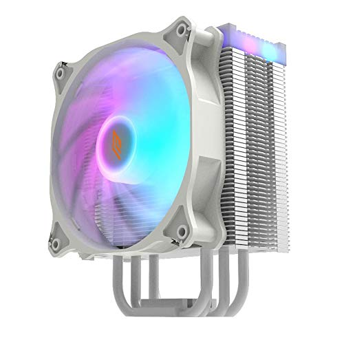 Noua Numb White ADD-RGB Disipador de CPU 4 Heatpipes TDP 120W Ventilador PWM de 120mm Addressable 5V 3-Pin Compatible para CPU Intel 1200 1155 1151 1150 1366 y AMD AM4 AM3+ AM3 AM2+ AM2