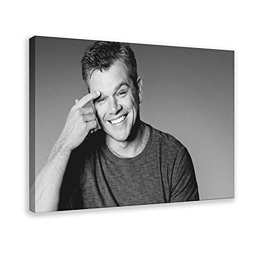 Matt Damon Poster Film Poster Black And White Poster Canvas Poster Bedroom Decor Sports Landscape Office Room Decor Gift 24×36inch(60×90cm) Frame-style1
