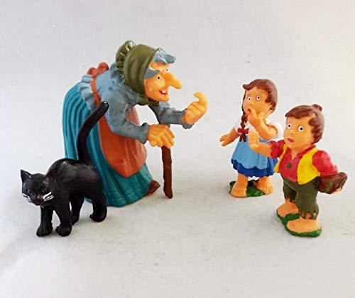 Axse Hänsel und Gretel Hexe Katze 4 Märchen Figuren für Hexenhäuschen