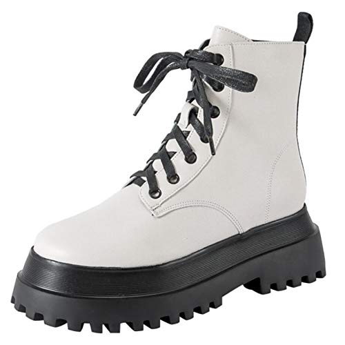HapyLady Mode Combat Boots Damen Flatform Stiefeletten Lace up Gotische Stiefel Plateau Mid Calf Biker Stiefel Cosplay Schuhe White Gr 37