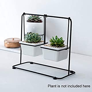 Outdoor Wall Planter- Indoor Outdoor Container with Holder Rack -White Ceramic Planter Modern Mini Flower Pot