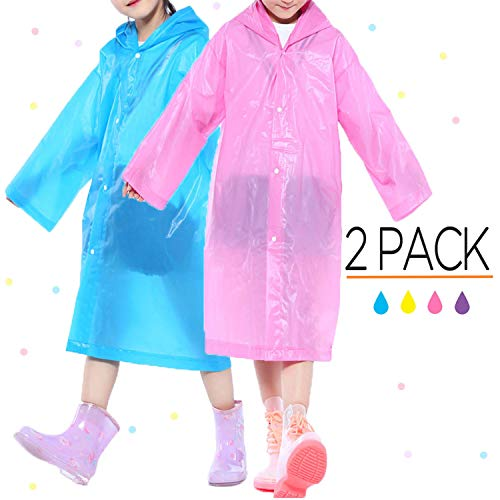 Opret Portable Kids Children Rain Poncho, Reusable Raincoat with Hoods and Sleeves, Durable, Lightweight and Perfect for Outdoor Activities (Blue&Pink)