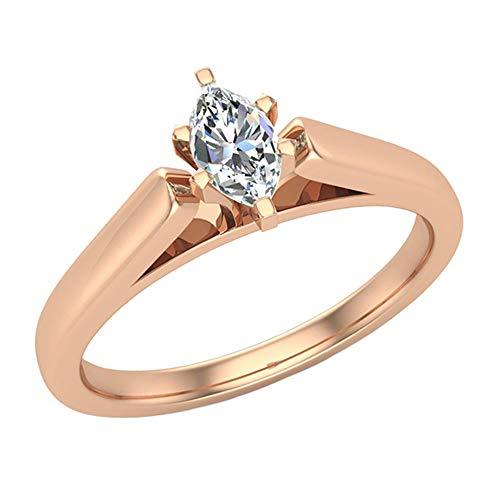 Glitz Design - 14 Kt Rotgold Marquiseschliff Markise G-H Weißer Diamant