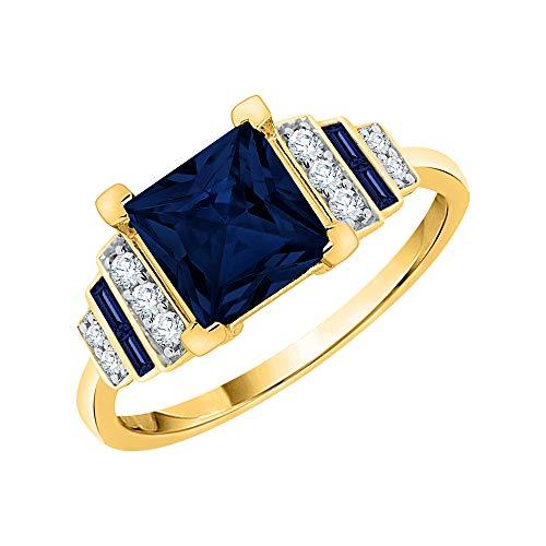 KATARINA Anillo de compromiso con diamantes engastados y zafiro azul en oro de 14 K (1 1/2 quilates, I-J, I1)