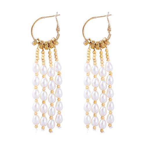 YAZILIND imitación perla borla colgante largos pendientes elegantes mujeres gotas colgante aro anillo cumpleaños regalo joyería