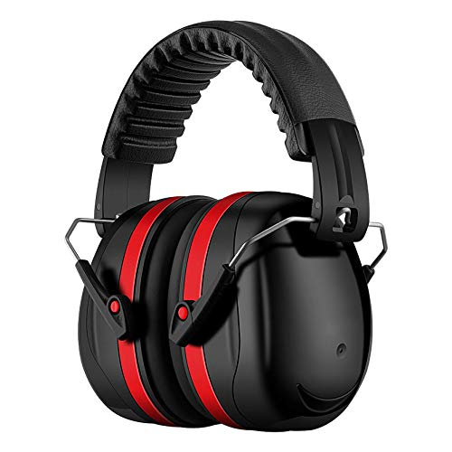Homitt Gehörschutz Ohrenschützer mit 34dB SNR, lärmschutzkopfhörer erwachsene mit Tragbare Tasche, Faltbar Komfortabel kopfhörer mit tragekomfort für Schiessen, Gartenarbeit, Rasenmähen - Rot