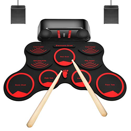 M-MASTER 10 Pads Electronic Drum Set, Roll Up Electric Drum Set with Headphone Jack, Built in Speaker and Battery, Drum Stick, Foot Pedals,Great Holiday Birthday Gift for Kids