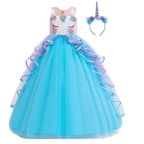 Niñas Disfraz de Halloween Princesa Vestido de Unicornio para Chicas Cumpleaños de Boda Carnaval de Fiesta de Cosplay Navidad Comunión Flor Vestidos de Baile con Diadema Azul 8-9