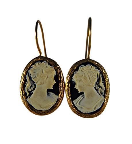 Lady Kamee - vergoldete Vintage Ohrringe - Ohrschmuck für Sie - Geschenkidee - Frau - Mutter - Schwester - Gemme - Lady - Damen - Romantisch - Antik - Handgemacht - Trend - Weihnachtsgeschenk