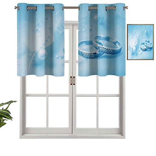 Hiiiman Modern Window Curtain Valance Engagement Wedding Rings with Pearls on Blue Dreamy Background, Set of 1, 50'x18' Home Decorative Blackout Panels for Living Room