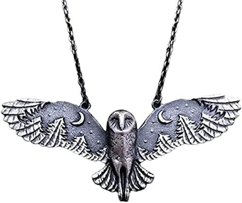Aleación Plata Búho Luna Bosque Collar Collar de búho Volador Creatividad Retro Collar de Plata para Mujer Fase Lunar Joyería artística Collar de tótem Animal