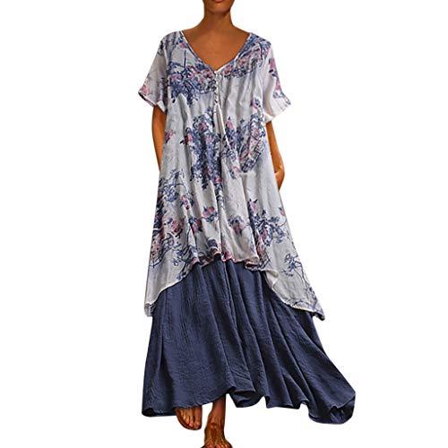Damen lialbert rundhalsausschnitt-skater blumenmuster sleeves maxi kleid boho lang zweiteilige rüschen 13-blau 26