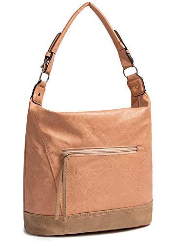 Styleboom Fashion Damen 2-Tone Tote Zip Bag rosa braun