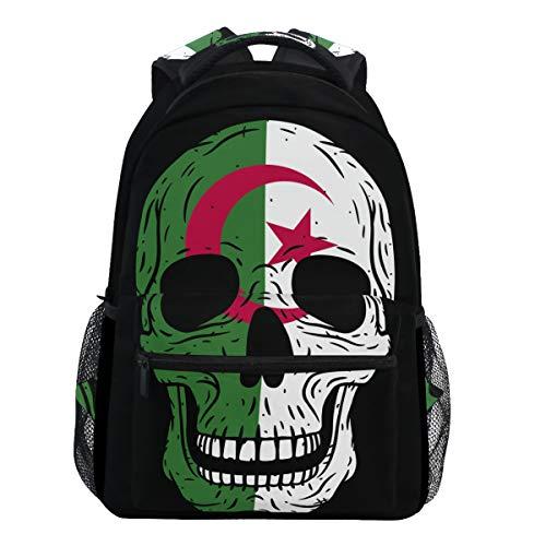 Oarencol - Mochilas con diseño de calavera humana con bandera de Argelia