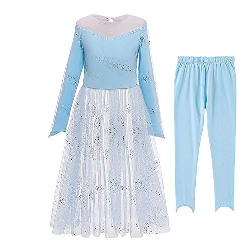 IWEMEK Mädchen Eiskönigin 2 Kostüm Frozen Prinzessin ELSA Anna Kleid Schneekönigin Cosplay Kostüme Weihnachten Karneval Party Verkleidung Halloween Festkleid Party Outfits 02 Blau 2tlg 3-4 Jahre