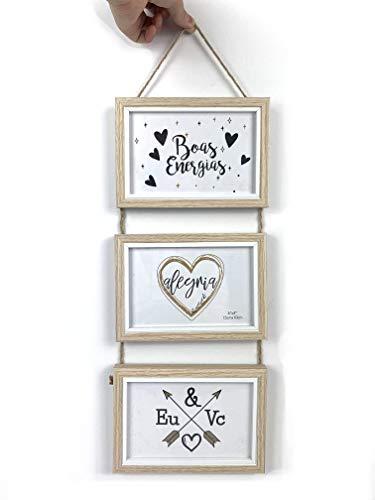 TH - Portafoto multiplo decorativo con cornici in legno, da parete, per 3 foto da 15 x 10 cm, verticale