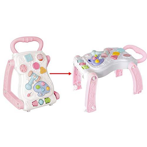 Sipobuy Baby Erste Schritte Activity Walker & Spieltisch 2 IN 1 Stehhilfe-Lernwagen Spielzeug Kinder Kinder Mädchen, Rosa