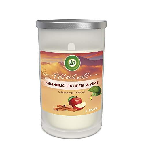 Air Wick Entspannungs-Duftkerze – Duft: Besinnlicher Apfel & Zimt – Enthält natürliche ätherische Öle – 1 x Duftkerze in Weiß