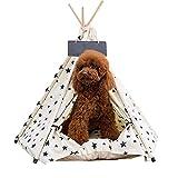 LBSQW Tienda de campaña para perros y gatos, extraíble y lavable, para perros y gatos, con cojín, tienda de campaña para dormir con sonido para perros y gatos