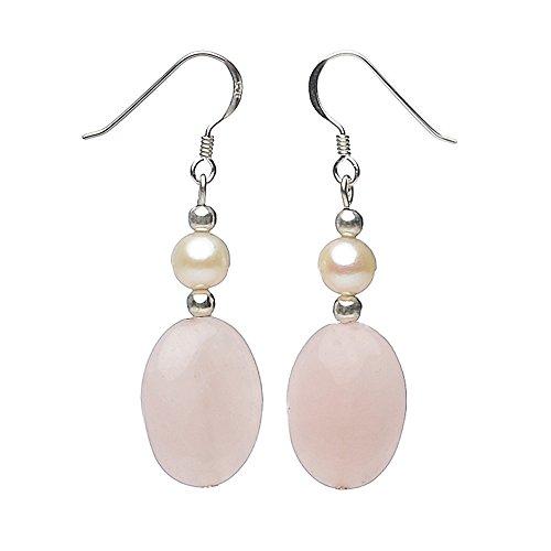 Gotas para el oído Juego de pendientes de cuarzo rosa y perlas cultivadas y 925 plateado Rosa Blanco para Mujer