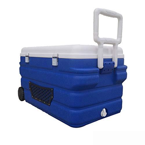 Refrigerador y calentador de mini refrigerador con ruedas con refrigerador de 40L / 90L, ideal para las habitaciones de los hogares Oficinas Caravana de camping: Viene con asa y tragaluz (azul)