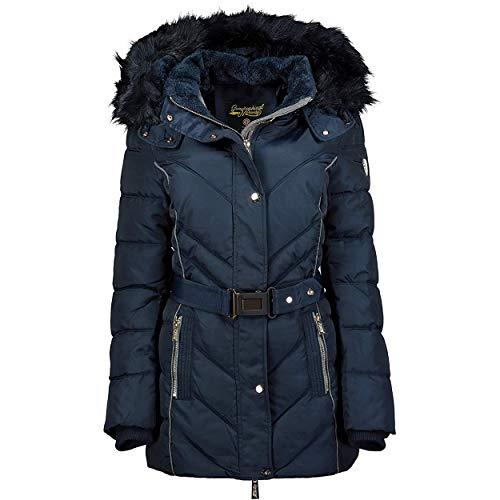 Geographical Norway BECKY LADY - Parka De Mujer Cálida - Abrigo Con Capucha De Piel Falsa - Chaqueta Invierno - Chaqueta Larga Con Forro Cálido - Regalo Mujer Outwear Casual (azul marino M) Talla 2