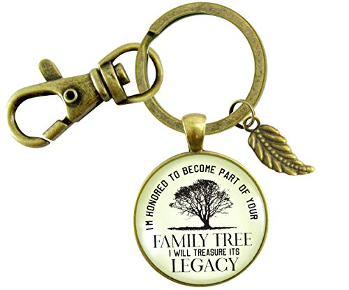 Gutsy Goodness His Father In Law Gift Keychain Honored Family Tree From Groom To Father of Bride Wedding Key Ring