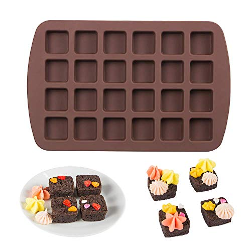 Webake Mini Brownie Pan Square Silicone Baking Mold for Keto Fat Bomb Chocolate Peanut Butter Blondie